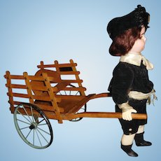 "15"" Tall Antique Simon & Halbig Wind Up Automaton Pulling Cart"