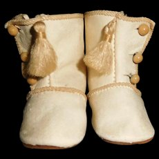 """2 5/8"""" Long White Kid Leather Doll Boots In Almost Mint Condition"""