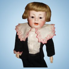"18"" Antique German Bisque Character Boy Doll"