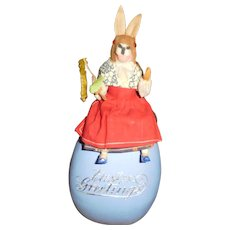 "11 1/2"" Tall Antique German Dressed Rabbit Sitting On Egg Candy Container With Dresden Trim - All Original"