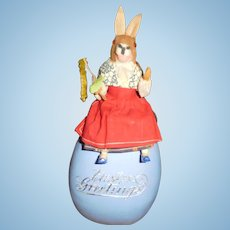 """11 1/2"""" Tall Antique German Dressed Rabbit Sitting On Egg Candy Container With Dresden Trim - All Original"""