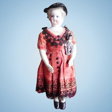 """11 1/2"""" Antique All Original French Fashion - Diminutive & Beautiful Holding Her Doll"""