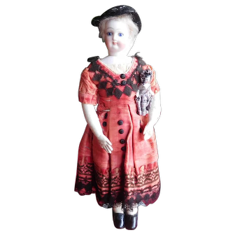 "11 1/2"" Antique All Original French Fashion - Diminutive & Beautiful Holding Her Doll"