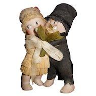 "3 1/2"" Antique Pair of Rose O'Neill Bride & Groom Huggers With Original Crepe Paper Clothes"