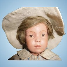 """16"""" Early Schoenhut Wigged Boy Doll ll Original"""