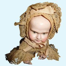 """12 1/2"""" Long Antique American Made Ives Key Wind Papier Mache Crawling Baby - All Original"""