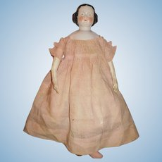 "22 1/2"" Antique German Center Part  China Doll, Antique Body, Great Period Clothing"