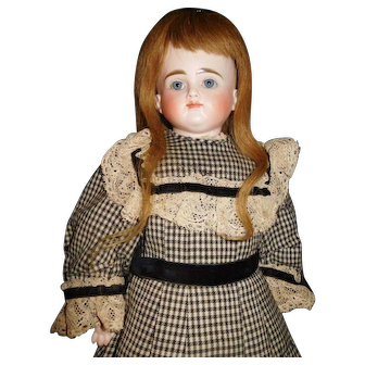 """21"""" Antique Very Pretty Turned Head, Closed Mouth Kestner Doll, Kid Body"""