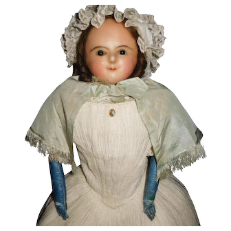 """28"""" Antique Early Wax Over Papier Mache Doll Wire Eye Mechanism Ca 1830's - 1860's"""