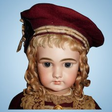"""26"""" Antique Gorgeous Closed Mouth French Doll Incised DEP"""