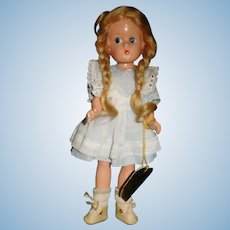 """9 1/2"""" Vintage Composition Effanbee Doll All Original With Wrist Tag"""