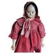 "23 1/2"" Early German Glass Eye Papier Mache Doll - All Original- Ca. 1850"