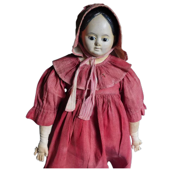 "23 1/2"" Early German Glass Eye Papier Mache Doll - All Original- Ca. 1850"