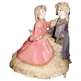 "15"" Tall Musical Mechanical French Automaton Dancing Couple 100% Original"