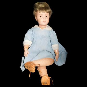 """19"""" Antique Schoenhut Doll Incised Mark, Original Clothing"""