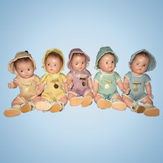 "7"" Vintage Madame Alexander Dionne Quintuplet Babies All Original With Tagged Rompers"