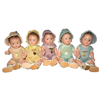 """7"""" Vintage Madame Alexander Dionne Quintuplet Babies All Original With Tagged Rompers"""