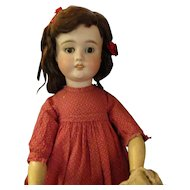 """24"""" Antique German Bisque Doll Incised A. W. Original Dress Plus Other Clothing"""