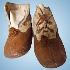 Two Tone Antique Leather Baby Shoes for Large Doll