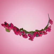 Vintage Deep Rose Silk Hat Flowers for Doll Hat