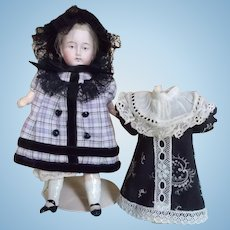 "Two Cotton Dresses and Bonnet for a 6 1/2"" Antique Doll"
