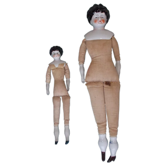 Lot of Two Antique China Head Dolls