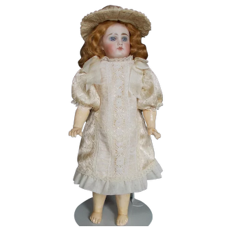 Two-Piece Silk and Lace Dress and Hat for Antique Doll
