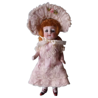 Silk and Lace Dress and Hat for All Bisque Antique Doll