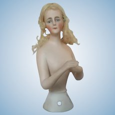 Antique Porcelain Bisque Half Doll with Arms Away