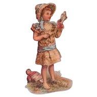Antique Victorian Era Paper Scrap with Doll