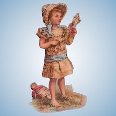 Antique Victorian Era Paper Scrap with Doll