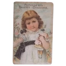 Antique Victorian Trade Card of Girl with Her Doll