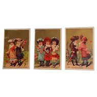 Set of Three Antique Victorian Era French Trade Cards with Dolls