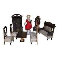 8 Piece Set of Antique German Wooden Painted Doll Furniture