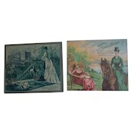 Two Antique 1883 Advertising Trade Cards - Dress Goods