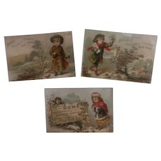 Set of 3 Antique Victorian Trade Cards - Children - Ad for Insurance