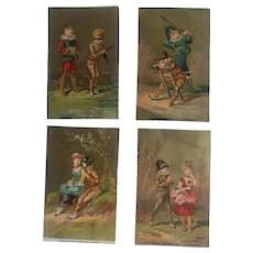 Set of 4 Antique Victorian Trade Cards - Children Dressed as French Polichinelle