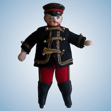 "3 1/2"" Antique Miniature All Bisque Doll in Uniform"