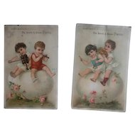 Set of 2 Antique Victorian Trade Cards - Children - Ad for Pianos