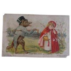 Antique Victorian Era Trade Card  - Red Riding Hood