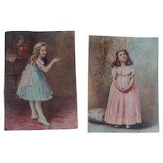 Set of 2 Antique Photo Cards - Girls in Fancy Dresses