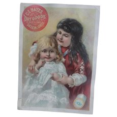 Antique Victorian Era Trade Card with Children - Clark's Thread
