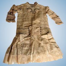 Antique Fancy Silk Dress for Large Doll