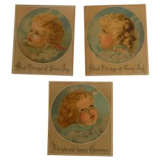 3 Antique Christmas Cards with Children as Angels