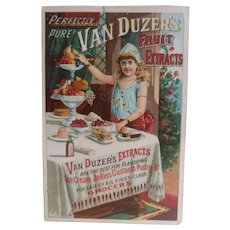 Antique Victorian Era Trade Card - Girl at Dessert Table