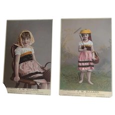Set of 2 Antique Victorian Trade Cards - Little Girls in Regional Costume