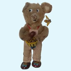 Vintage Mechanical Wind-up Bear with Flying Bee