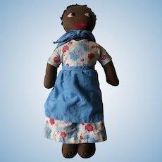 Vintage 1940's Era Black Americana Cloth Doll