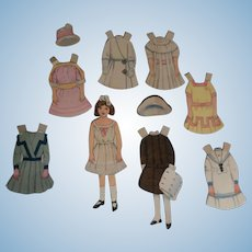 Original Antique Early 1900's Paper Doll with Clothes