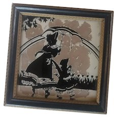 Vintage Framed Silhouette Picture of Girl with Doll